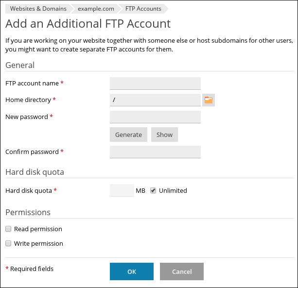 Plesk - Add an Additional FTP Account page