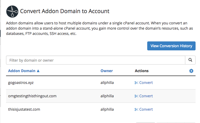Select Addon Domain