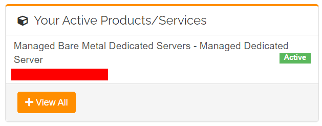Managed Bare Metal Dedicated Servers Active Product within Customer Portal